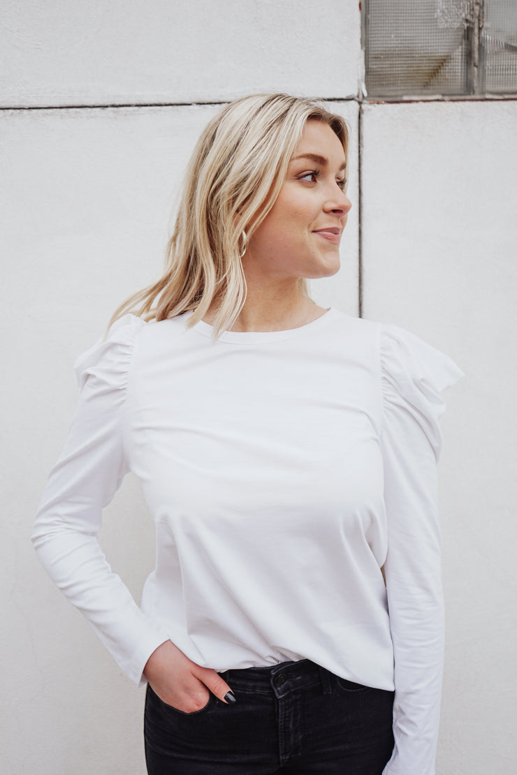 Valentina Ruffle Top - White