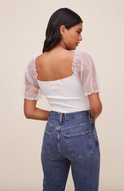 Darling Sheer Puff Sleeve Bodysuit