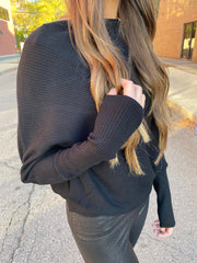 NYC Christmas Dolman Sweater - Black