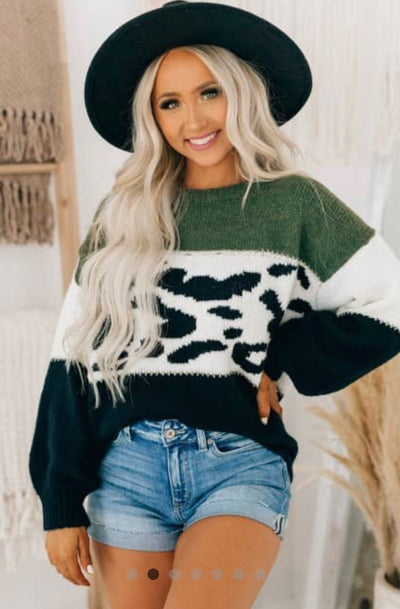 Stuck In Colder Weather, Green and Black Chunky Knit Sweater