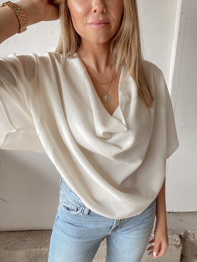 Return To Me Cowl Neck Top - Ivory