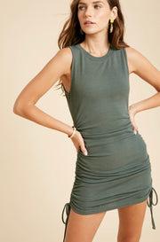 Meg Ribbed Shirred Tie Dress