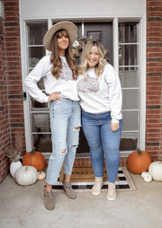 Grey Cheetah Pumpkin Crew Neck