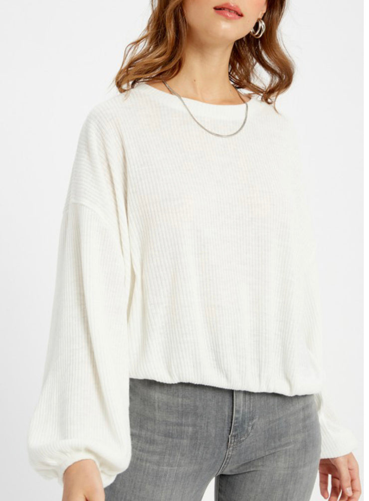 Soho Ribbed Crop - Cream