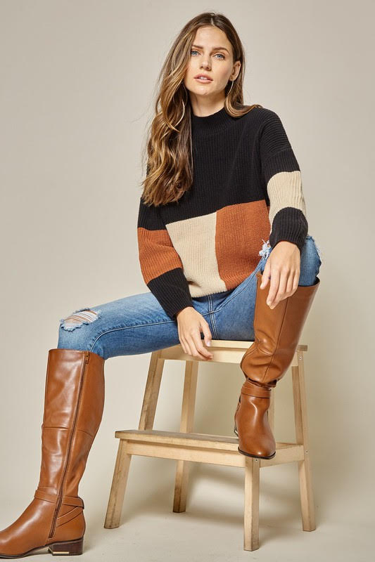 Pumpkin Spice Color Block Sweater