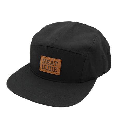 5 Panel Strapback Hat - Black