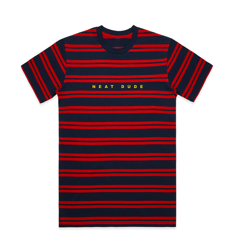 Embroidered Stripe Tee - Red/Navy