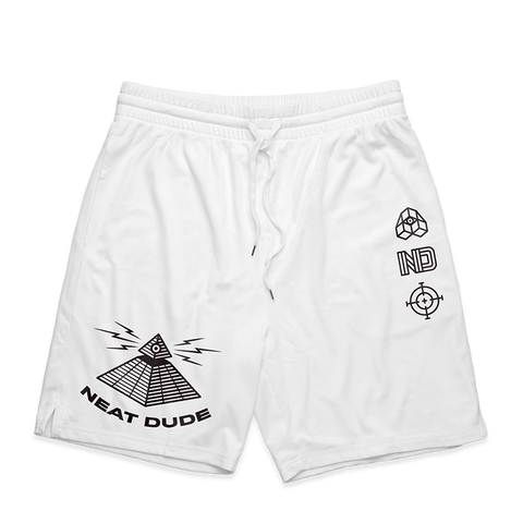 Mesh Pyramid Shorts - White