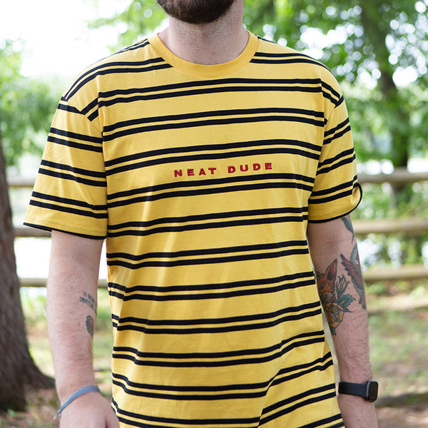 Embroidered Stripe Tee - Yellow/Black
