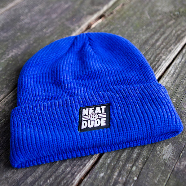 Globe Patch Beanie - Royal Blue