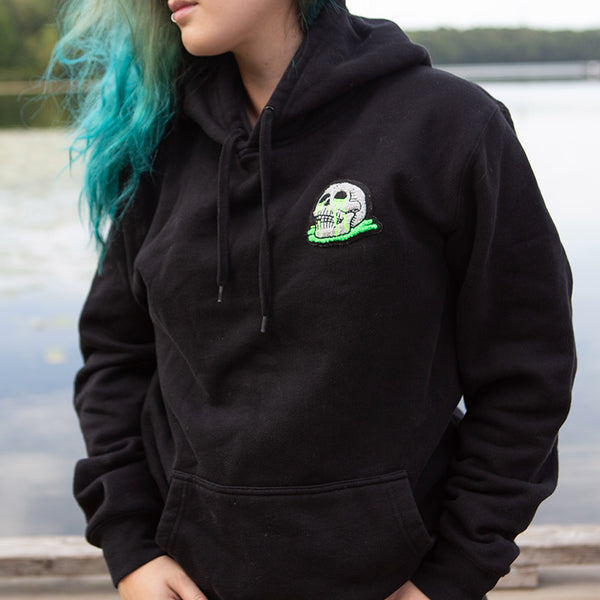 Chenille Skull Puddle Hoodie - Black