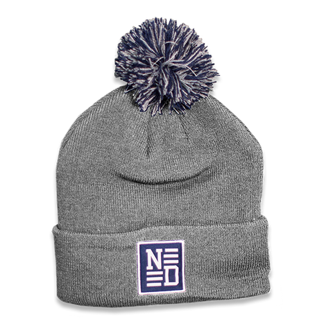 Patch Pom Beanie - Heather Grey