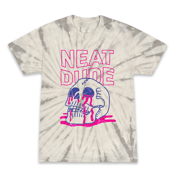 Skull Puddle Tee - Light Tie Dye