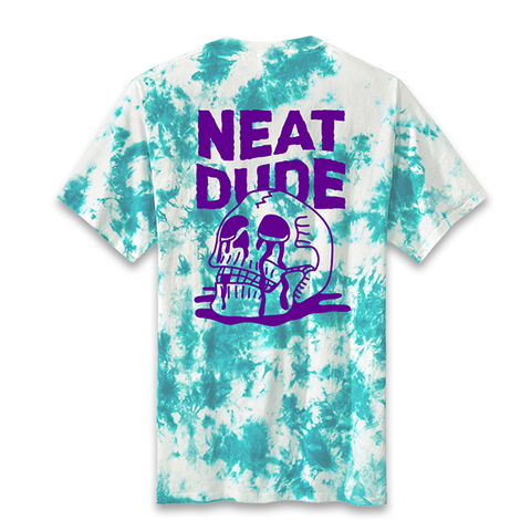 Skull Puddle Tee - Teal Crystal Wash
