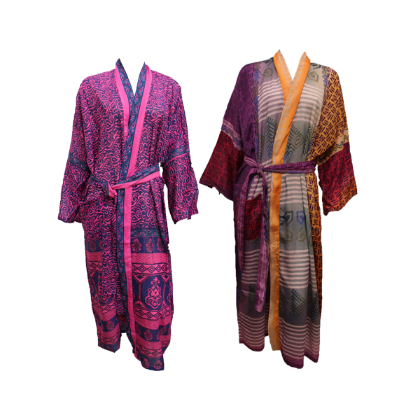 Recycled Sari Robes Long