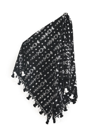 Black & White Pom Throw