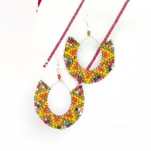 Sun Burst Hoop Ceramic Beaded Earring