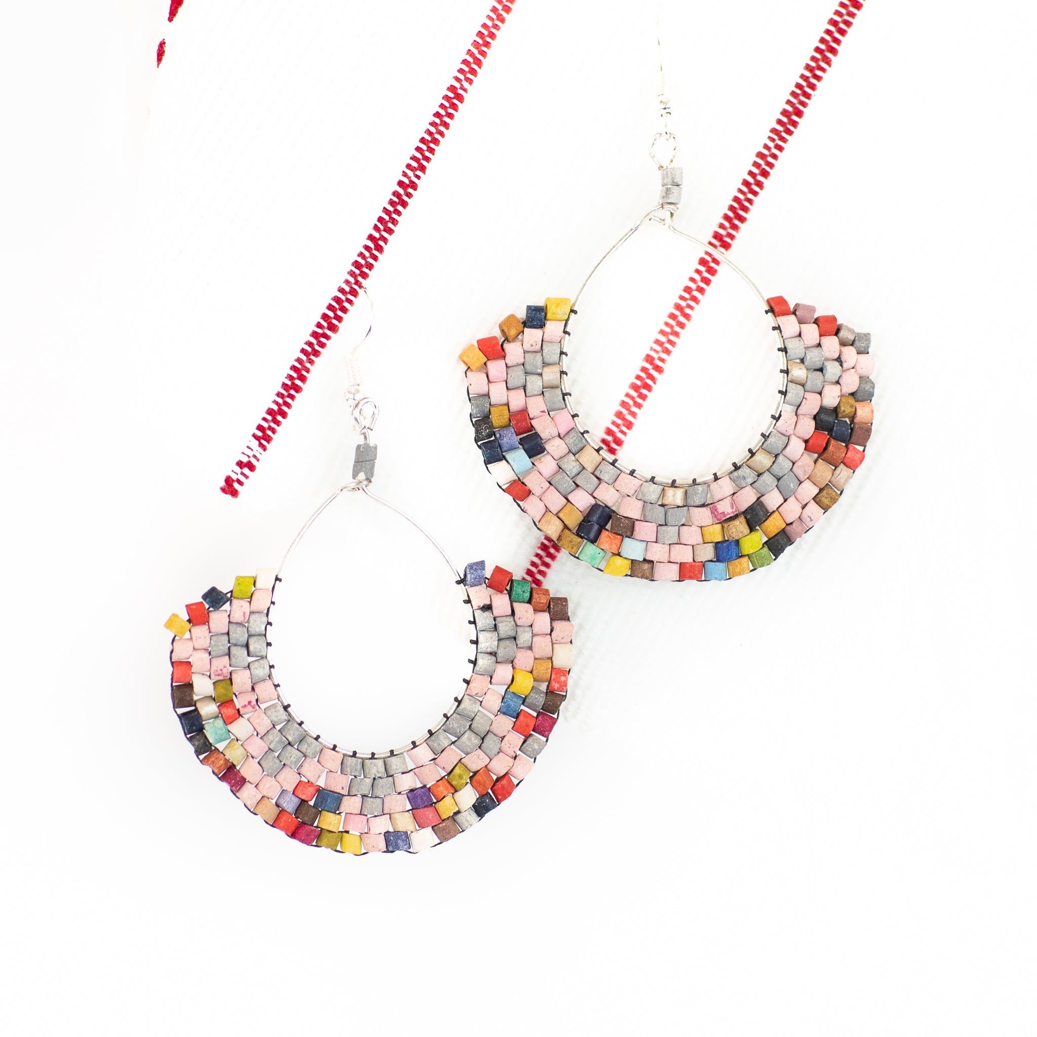 Peachy Hoop Ceramic Beaded Earring