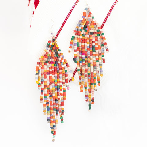 Rainbow Fringe Ceramic Earring