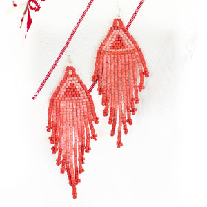 Coral Fringe Ceramic Beaded Earring