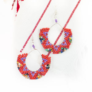 Iris Hoop Ceramic Beaded Earring
