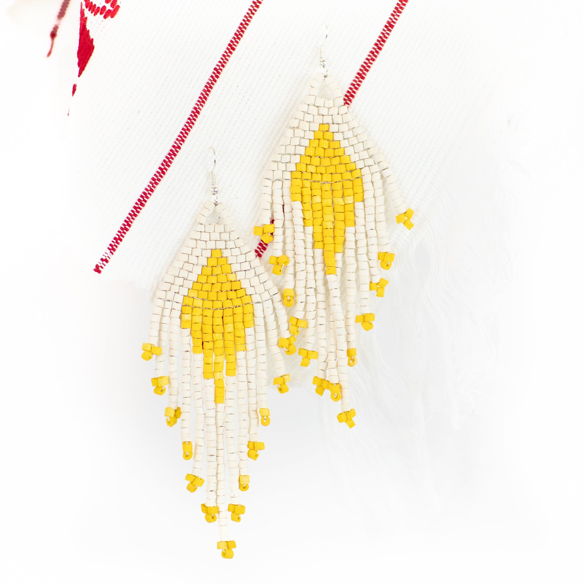 Diamond Fringe Ceramic Beaded Earring