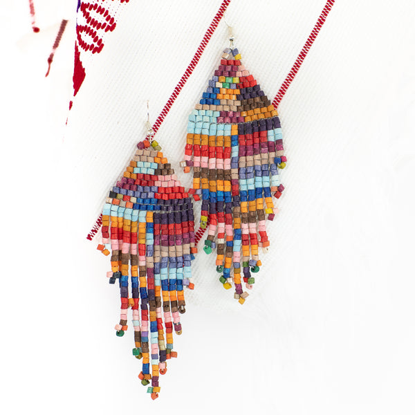 Fireside Fringe Ceramic Beaded Earring