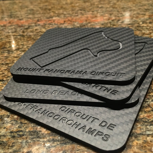 Second Edition Time Attack Carbon Fiber Coaster Set