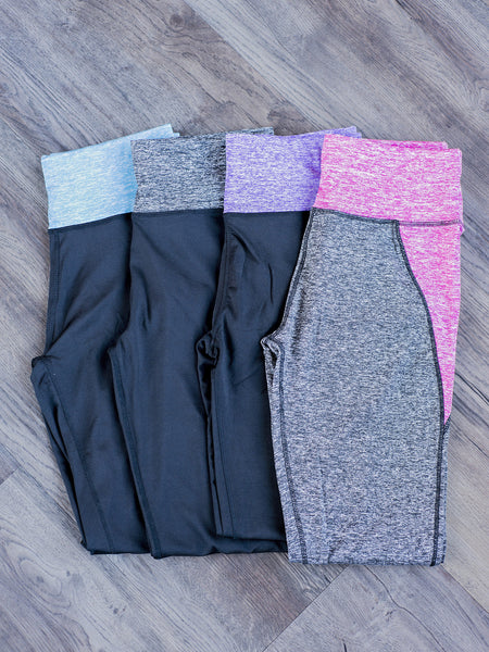 Ankle length color banded waist workout leggings by Simply Fate Clothing.
