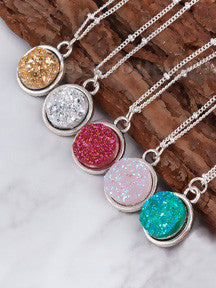 Sparkly Druzy Pendant Necklace