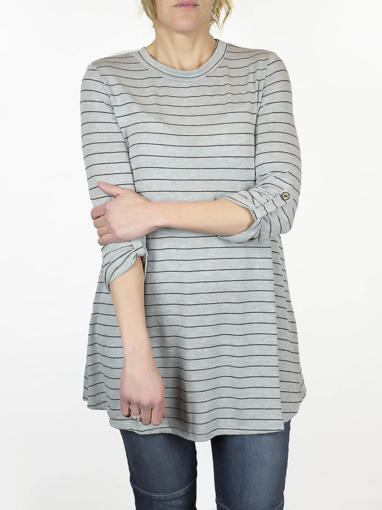 Rolled Sleeve Stripe Tunic - Simply Fate - 4