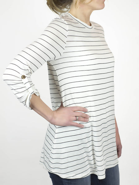Rolled Sleeve Stripe Tunic - Simply Fate - 2