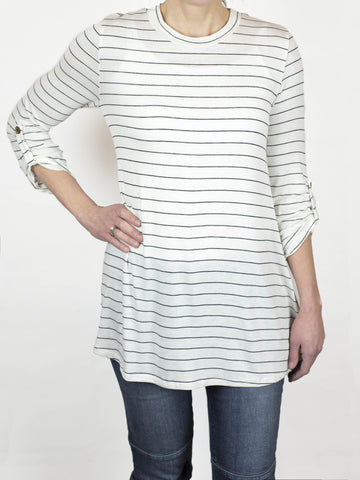 Rolled Sleeve Stripe Tunic - Simply Fate - 1