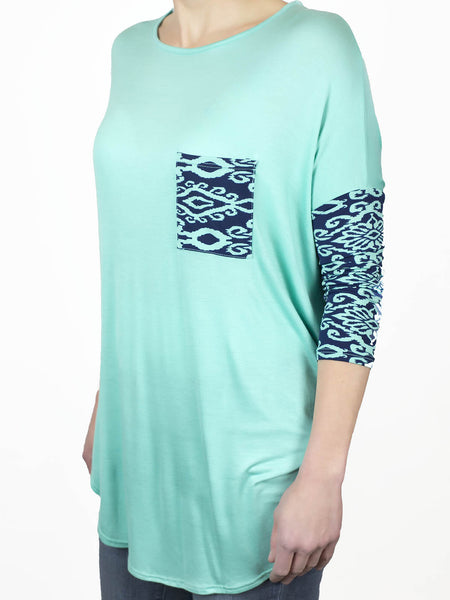Loose fitting Aztec print contrast top from Simply Fate Clothing