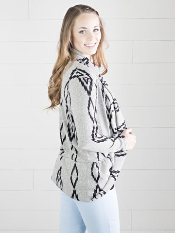 Open front grey with black pattern detail Aztec cardigan by Simply Fate Clothing.
