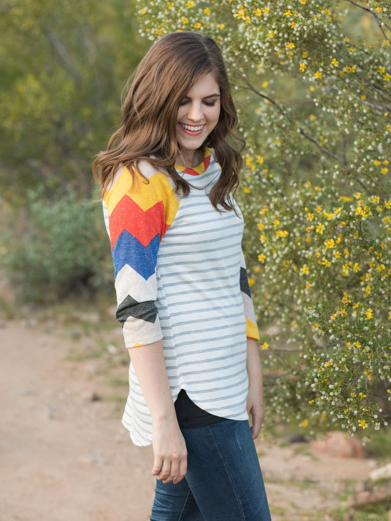 Chevron Sleeve Top