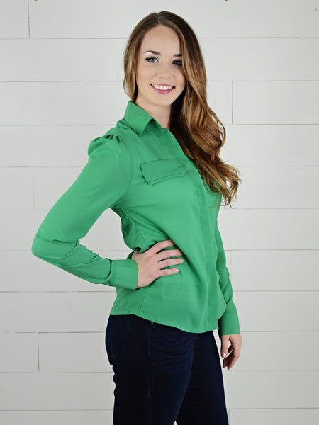 Double faux pocket blouse with gather shoulder detail from Simply Fate Clothing.