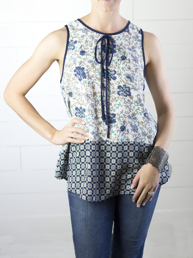 Floral tank with keyhole and geometric print at the bottom from Simply Fate Clothing.