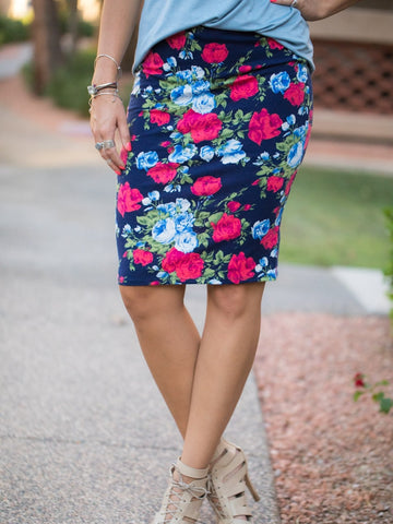 Blue Floral Pencil Skirt