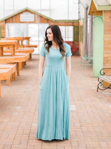 Ruched Sleeve Maxi Dress