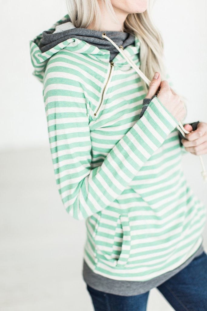 Mint Stripe Doublehood Sweatshirt