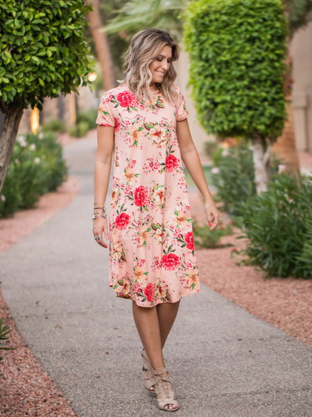Peachy floral swing dress