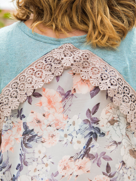 Sheer Back Floral Top