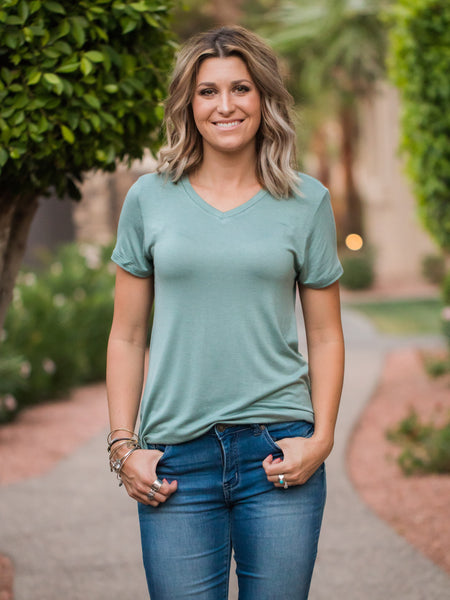 V- Neck Boyfriend Tee (4 colors)