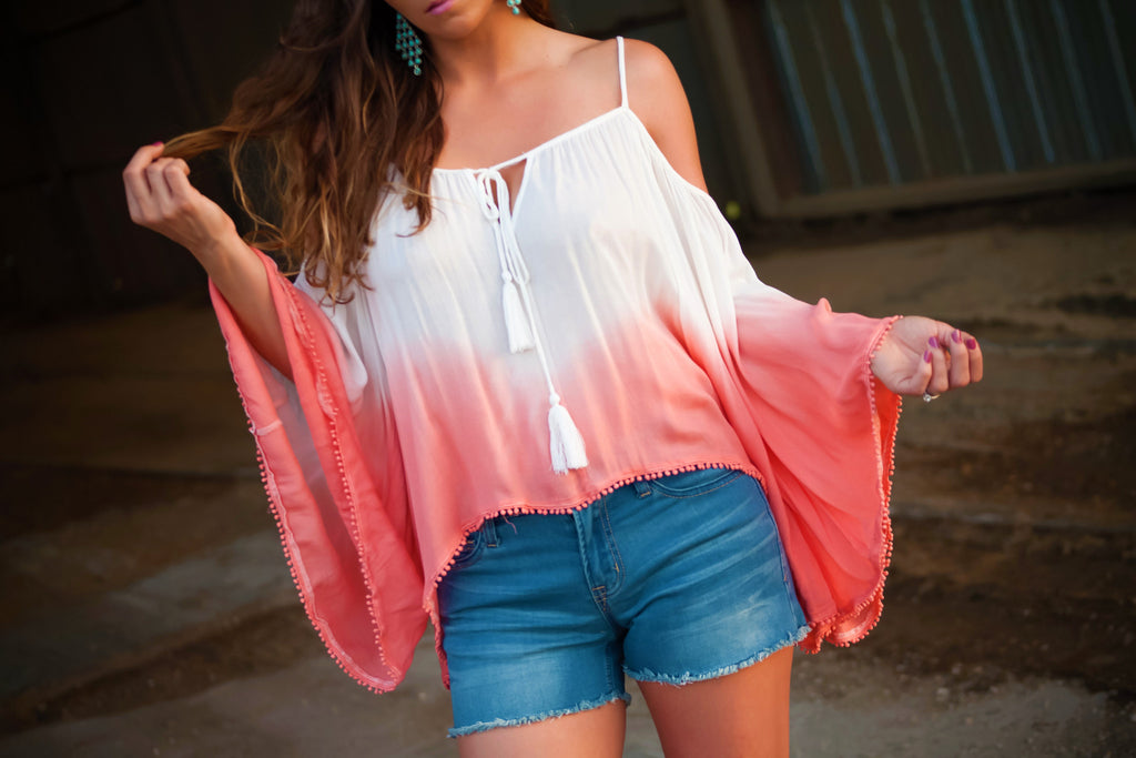 Ombre Road Cold Shoulder Top - Thread Affair