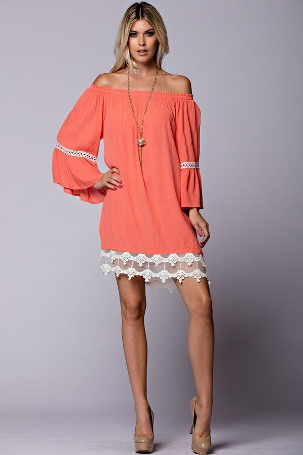 Bella Lace Smock Dress- Coral - Thread Affair