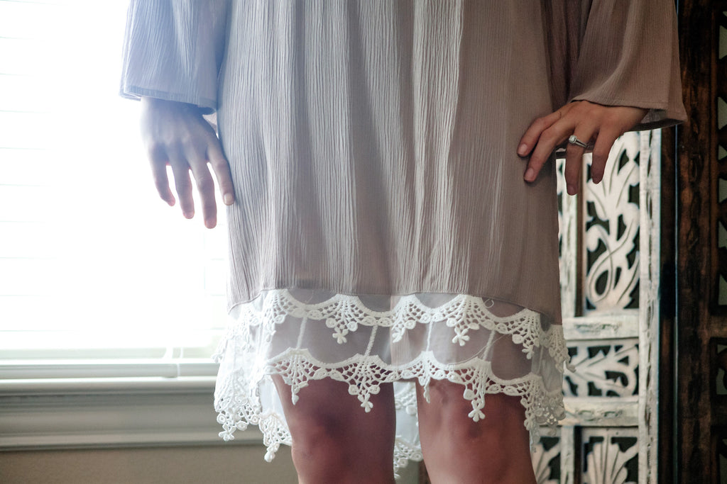 Bella Lace Smock Dress- Taupe - Thread Affair