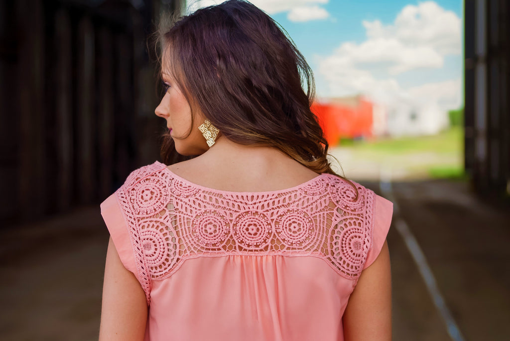Delicate Dame Crochet Detail Top - Thread Affair