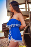 Beach Babe Tassle Romper-Blue - Thread Affair