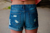 Delia Distressed Denim Shorts - Thread Affair